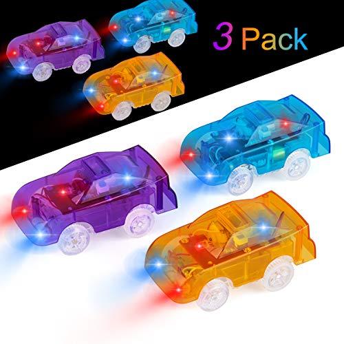 Funkprofi Spielzeugautos für Kinder ab 2 Jahre alt, 3 Pack Kinderspielzeug Auto Track Cars mit 5 LED Lichter Rennauto Rennwagen Leuchtender Elektrischer Eisenbahnwagen ( Gelb, Blau, Lila)