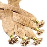 Just Beautiful Hair and Cosmetics Lot de 100 extensions de cheveux naturels Remy Hair avec points de kératine pour pose à chaud Blond doré (27) 60cm