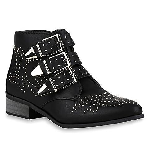 Damen Stiefeletten Buckle Ankle Boots Derbe Stiefel Nieten Schuhe 126489 Schwarz Avion 37   Flandell®