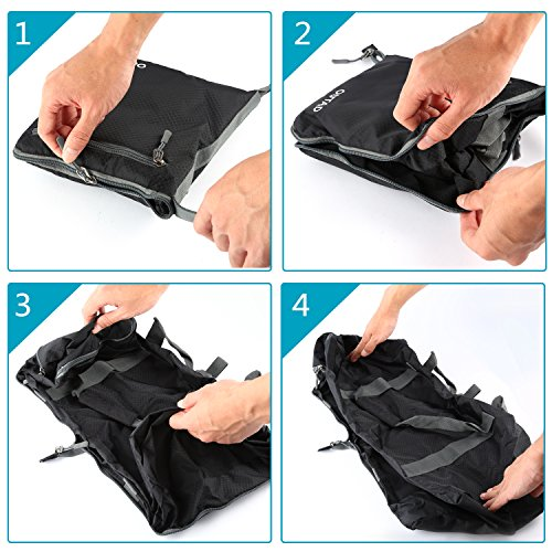 OUTAD Sacchetto di viaggio borsa in spalla sacchetto Flounder leggero pieghevole 50L (3colori a scegliere)..., nero (Nero) - OUTAD nero