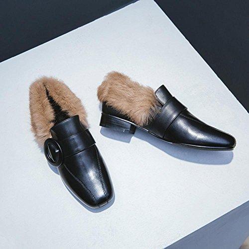 Donna Martin Stivali WSXY5105 Retro Serie di Scarpe Calde con Fibbia Creativa,KJJDE black