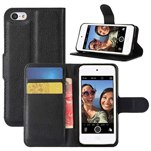 HualuBro iPod Touch 7 Hülle, Leder Brieftasche Etui LederHülle Tasche Schutzhülle HandyHülle Handytasche Leather Wallet Flip Case Cover für Apple iPod Touch 7g 7th Generation 2019 (Schwarz)