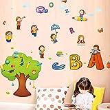 CXXZICASD Kindergarten Rincón inglés Niños Que aprenden inglés Clases de inglés Clases de decoración Dibujos Animados ABC Pegatinas de Pared Pegatinas de árboles