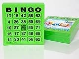 200 große Bingokarten für Senioren 24 aus 75 mit Joker in der Mitte (grün)