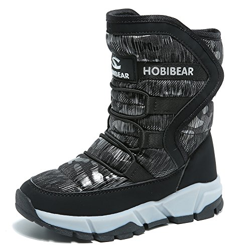 GUBARUN Jungen gefütterte Schneestiefel Outdoor Warm Winterstiefel Winter Wasserdicht Stiefel für Unisex-Kinder: Gr. 28 EU/ Herstellergroße- 29, Schwarz