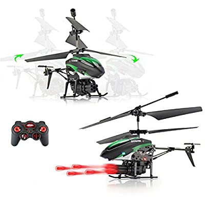 Ocamo 2-Motors Mini Remote-controlled Aircraft with 6 Missiles Children Plastic Helicopter Toy for Boys and Girls