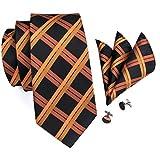 Hi-Tie Ensemble 3pièces en soie ornées d'un motif à carreaux pour homme, comprend une cravate, un mouchoir et des boutons de manchette