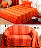 Homescapes TAGESDECKE/Sofa-Überwurf orange Streifen, 230x 255cm aus reiner Baumwolle gehören zur Sammlung Stripes