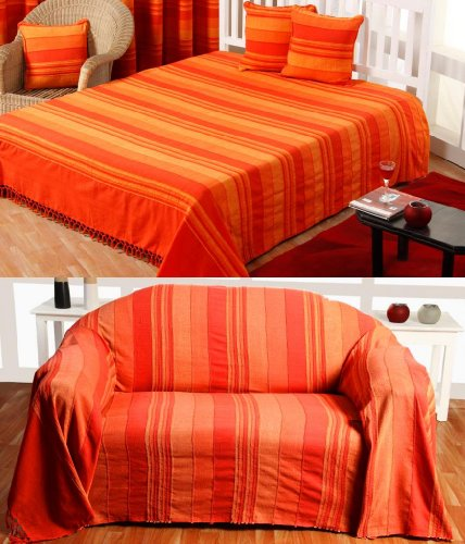 Homescapes Tagesdecke/gestreifter Sofaüberwurf Morocco in Terrakotta-Orange 150 x 200 cm - handgewebt aus 100% Reiner Baumwolle mit Fransen -