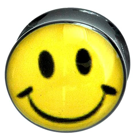 Flesh Ear Plug Tunnel Smiley Acid Face Flared Acrylic plug in sizes 5mm-12mm