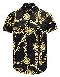 Pizoff Herren kurz Ärmeln Hip-Hop golden Hemden mit floral Blumen Luxus Palace Muster Y1782-19-L