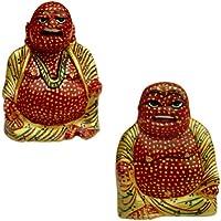 Intagliato dipinto a mano in legno Laughing Buddha per Good Luck (Set di 2)