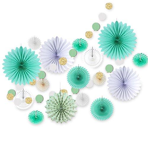 (SUNBEAUTY Mint Dekoration Papier Party Deko Hochzeit Geburtstagsdeko (Türkis))