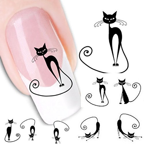 Vovotrade Cat Transfer Water Slide Decal Sticker Nail Art Conseils pour Decor XF1442