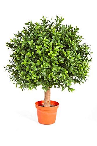 artplants.de Künstliche Buchskugel Tom auf Stamm, 430 Blätter, 45cm, Ø 30cm - Künstlicher Buchsbaum Buxkugel Buchsbaumkugel
