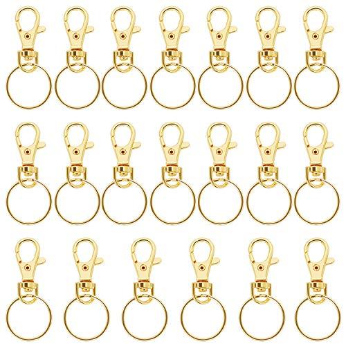 TRIXES kleine abnehmbare schwenkbare Karabiner für Schlüssel Schlüsselring Schlüsselanhänger (Gold)