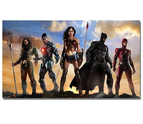 Justice League Film Neue Poster Super Hero Kunst Wand Leinwand Batman Superman Aquaman Wonder Woman Flash Poster Drucke Wand Decor 40x70 cm Ohne Rahmen (Wand-kunst Superman)