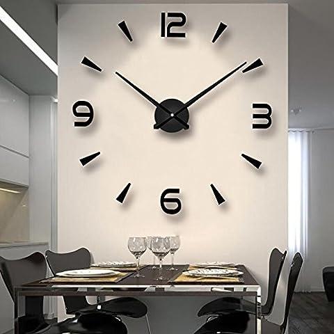 Modern & Concise DIY Analog 3D Mirror Surface Large Number Wall Clock Sticker Accueil / Décoration de l'hôtel, 1pc Batterie AA (non incluse)