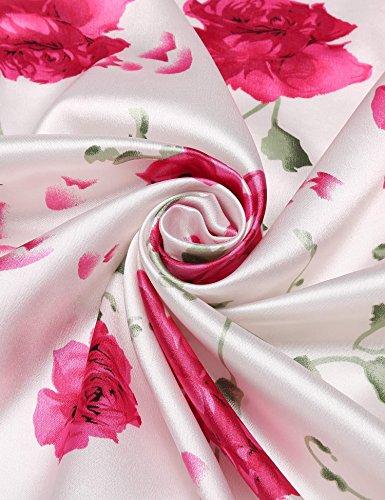 Damen sexy Morgenmantel Satin Kimono Robe Bademantel Nachtwäsche Weiß