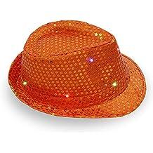 172331729c3a3 Gorros de baile para niños con lentejuelas brillantes y LED 58cm Adjustable  naranja