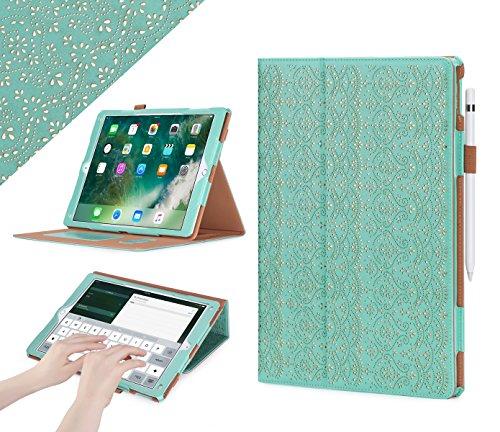 iPad Pro 12,92017Fall, WWW [Luxus Blumen Laser] Premium PU Leder Tasche Schutz Hülle Cover mit Automatische Sleep/Wake Funktion Drahtloser Tastatur Pro 12,9(2017) (Fall Ipad-tastatur)
