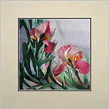 King Silk Art 100% Handmade Embroidery Multiple Unframed 30x30 cm Pink Irises Oriental Wall Hanging Art Asian Decoration Tapestry Artwork Picture Gifts 36135U_36136W