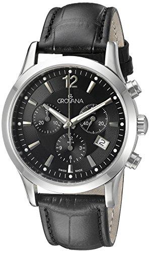 GROVANA - 1209.9537 - Montre Homme - Quartz Chronographe - Chronographe - Bracelet Cuir Noir