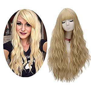 FiveFour Light Blonde Wigs for Women Long Fluffy Curly Fancy Dress Wig with Fringe Wave Heat Resistant Synthetic Hair Wig for Cosplay Party