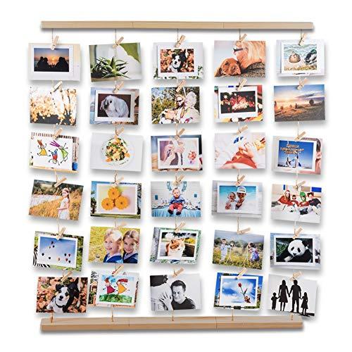 Uping Marcos de Fotos Multiples para Pared con Cuerdas y Pinzas de Madera, Decoración del Hogar y Regalo (Color de Madera Natural)