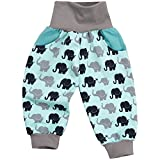"Lilakind"" Jungen Hose Pumphose Babyhose Taschen Elefanten Türkis Jersey Baumwolle Gr. 86/92 - Made in Germany"