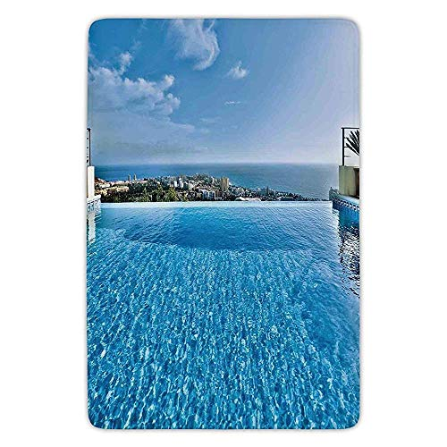 JIEKEIO Bathroom Bath Rug Kitchen Floor Mat Carpet,House Decor,View from Infinity Swimming Pool Tropical Seaside Villa Seascape Travel Destination,Flannel Microfiber Non-Slip Soft Absorbent