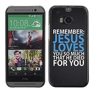 Smartphone Étui rigide Couverture Housse coque téléphone portable pour HTC One M8 / CECELL Phone case / / BIBLE Jesus Loves You So Much That He Died For You /
