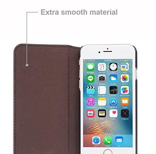 Apple iPhone 6 / 6S Hülle in SCHWARZ von Cadorabo - Handy-Hülle mit unsichtbarem Magnet-Verschluss , Standfunktion und Karten-Fach Case Cover Schutz-hülle Etui Tasche Book Klapp Style ANTIK-BRAUN