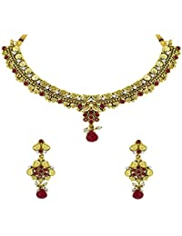 Zaveri Pearls Jewellery Set For Women (Gold And Pink) (ZPFK5481)