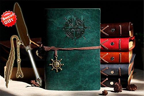 Lesezeichen aus PU-Leder, Tagebuch Notizbuch, nachfüllbar, mit Kugelschreiber und Federn, Vintage Retro-, blanko, Skizzenbuch, blanko, Spirale, täglicher Notizblock, klassisch, geprägt, grün