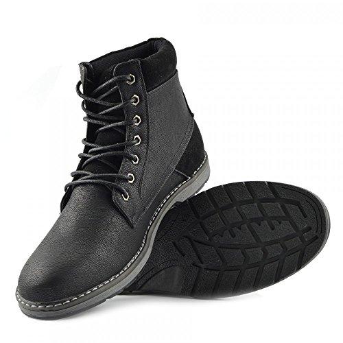 Kick Footwear Herren Knöchel Kampf Smart Arbeiten Lässig Chelsea Biker Military Lace Up Stiefel Schwarz