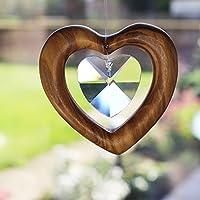 Fensterdeko Herz zum Aufhängen   Bleikristall mit Holz   Herzkristall   Regenbogenkristall   Sonnenfänger   Fenster Deko