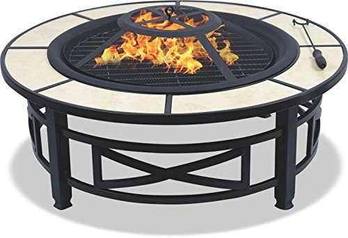 Centurion Supports NUSKU Luxurious and Premium Multi-Functional Black with Ceramic Tiles 360� Outdoor Garden & Patio Heater Round Fire Pit Brazier
