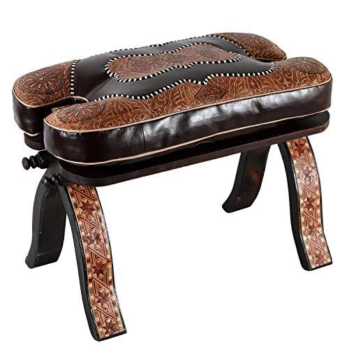 Casa Moro Marokkanischer Kamelhocker orientalischer Kamel Hocker Amin Arab mit Leder Sitzkissen und klappbaren Zedernholz-Gestell | Kunsthandwerk aus Marrakesch | MO4180