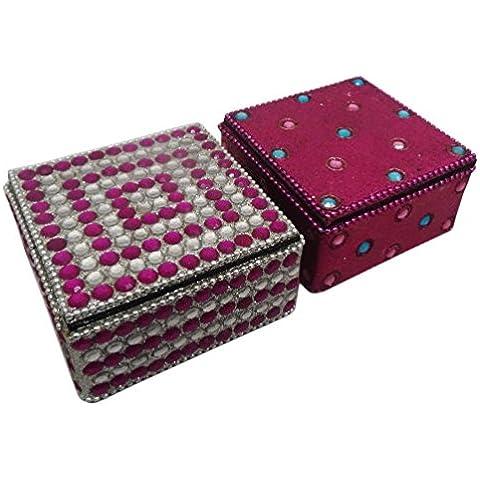 indian scatola decorativi fatti a mano in stile vintage lac box monili in rilievo materiale tavolo decorazioni per la casa top box antichi pillola set 2 pezzi