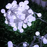 KK-LIGHT 80pcs 10M Special LED Solar Lights Garland String Lights for Party Decoration Wedding Garden House Christmas Party- Pure White