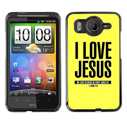 DREAMCASE Bibelzitate Bild Hart Handy Schutzhülle Schutz Schale Case Cover Etui für HTC DESIRE HD / INSPIRE 4G - Ich liebe Jesus - Johannes 4,19 (Cover Htc Inspire)