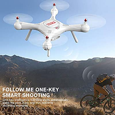 FABBD Remote Drone With Camera And GPS, Headless, Adjustable Wide Angle, Suitable For Beginners, 7200P HD Rotate WIFI Camera - Come With Me, Height Control, White Toy Helicopter, Anti-Lost.
