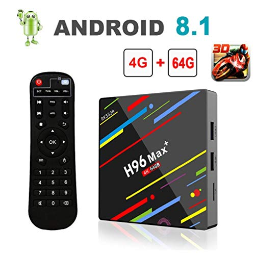 YUZEU H96 Max+ Smart TV Box Android 8.1 mit 4GB DDR3 + 64GB ROM, RK3328 Quad-Core 64bit Cortex-A53, 2.4G WiFi /100M LAN/4K/ H.265 / BT4.0 /Fernbedienung USB3.0
