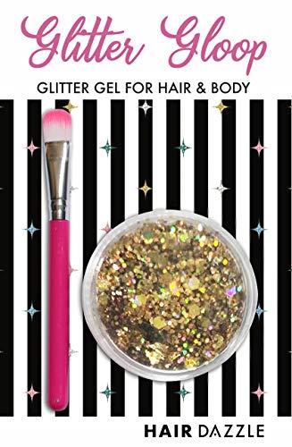 Haar & Körper Glitzer Gel, ROSEGOLD'' GLITTER GLOOP - Halloween-Kostüm, Haar, Gesicht, Körper Glitzer