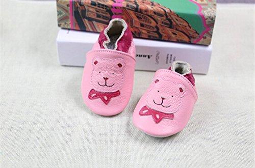 weiche Premium Leder Krabbelschuhe Lauflernschuhe Babyschuhe mit verschiedenen Motiven Rosa Bär