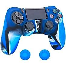 Pandaren Silikon hülle skin Schutzhülle für PS4 controller (Tarnung blau) x 1 + thumb grip aufsätze x 2