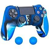 Pandaren® Pelle cover skin per il PS4 controller(blu nero bianco) x 1 + pollice presa x 2