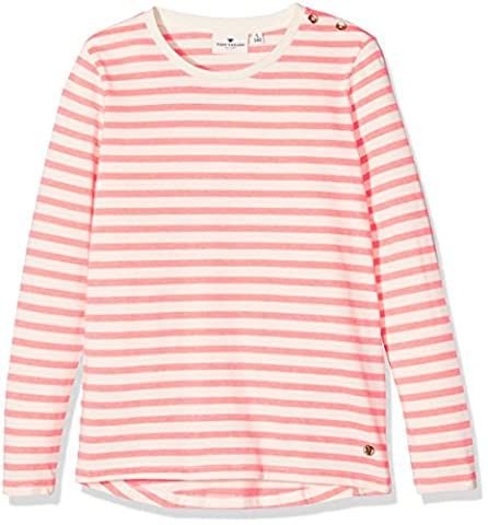 TOM TAILOR Kids Mädchen Langarmshirt Striped Tee with Buttons, Rosa (Flashy Calypso Pink 5447),