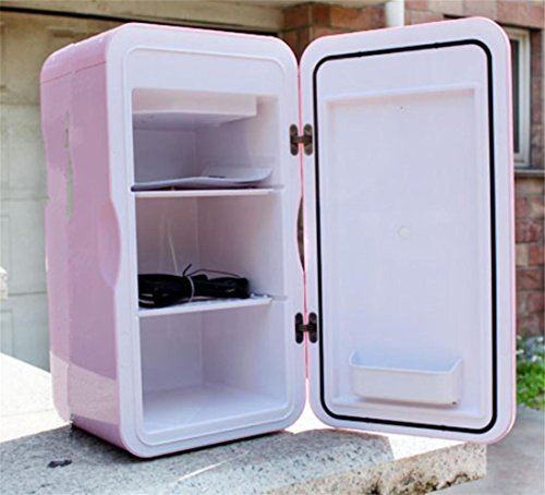AMYMGLL Semi-conducteur double réfrigérateurs domestiques chauds et froids 16L 45W tension d'alimentation (12 V) ABS Matériel Poids Taille 265x270x495mm 5kg rose